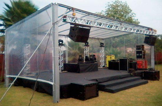 palco praticavel com estrutura box